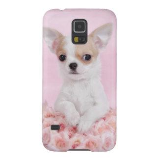 Chihuahua en rosa con los rosas funda para galaxy s5