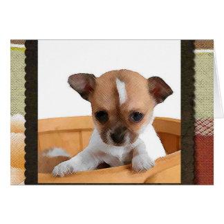 Chihuahua en tarjeta de nota de la cesta