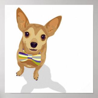 Chihuahua en un poster del bowtie