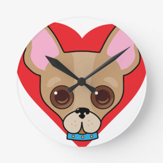 Chihuahua Face Round Clock