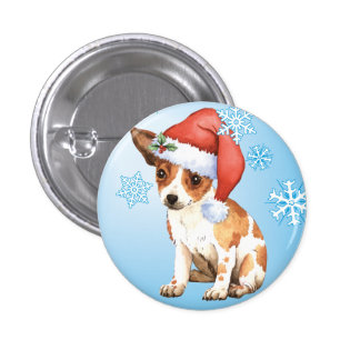 Chihuahua feliz de Howliday Pin Redondo De 1 Pulgada