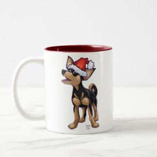 Chihuahua festiva de la noche estrellada taza de dos tonos