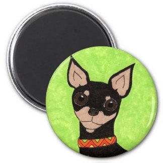 Chihuahua festiva imán redondo 5 cm