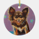 Chihuahua fun colorful happy original painting art christmas tree ornament
