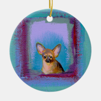 Chihuahua fun cute little toy dogs unique art christmas ornament