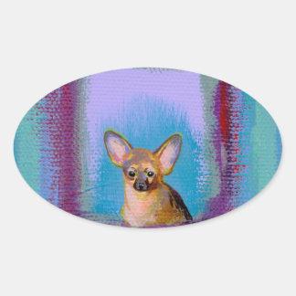 Chihuahua fun cute little toy dogs unique art oval sticker