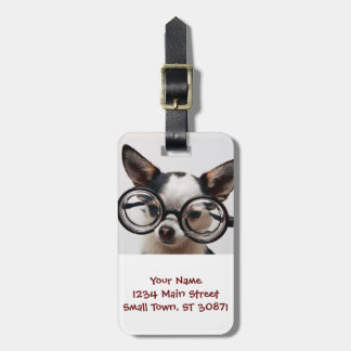Chihuahua glasses - dog eyeglasses luggage tag