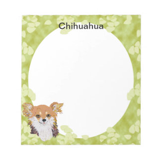 Chihuahua ~ Green Leaves Design Notepad