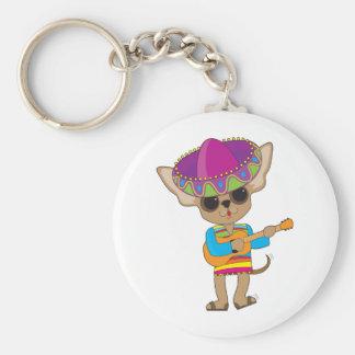 Chihuahua Guitar Basic Round Button Keychain