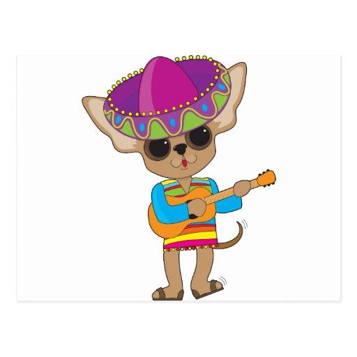 Chihuahua Guitar Postcard