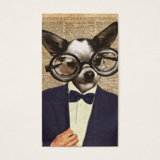 Chihuahua Hipster Dictionary Art Business Card