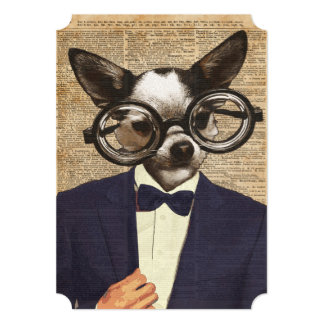 Chihuahua Hipster Dictionary Art Card