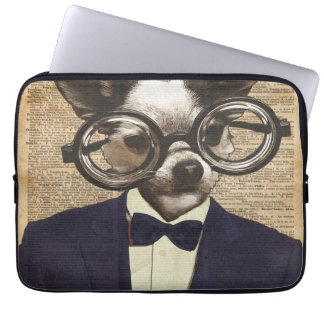 Chihuahua Hipster Dictionary Art Computer Sleeve