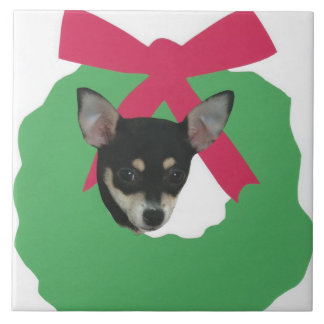 Chihuahua Holiday Wreath Tile