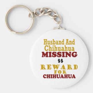 Chihuahua & Husband Missing Reward For Chihuahua Basic Round Button Keychain