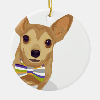 Chihuahua in a bowtie on white background ceramic ornament