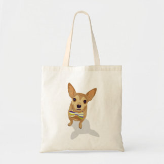 Chihuahua in a bowtie on white background tote bag