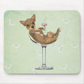 Chihuahua in Cocktail Glass Mouse Pad