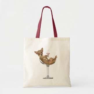 Chihuahua in Cocktail Glass Tote Bag