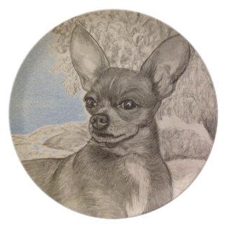 Chihuahua in field Plate by Carol Zeock