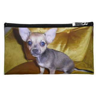 Chihuahua in her throne-gray back makeup bags