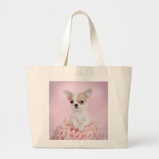 Chihuahua in pink with roses bags