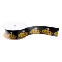 "Chihuahua in sunflowers dog 1.5"" satin ribbon"