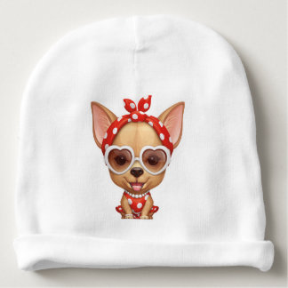 Chihuahua in the Guise of a Retro Beauty Baby Beanie