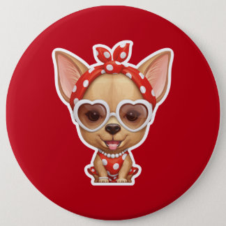 Chihuahua in the Guise of a Retro Beauty Button