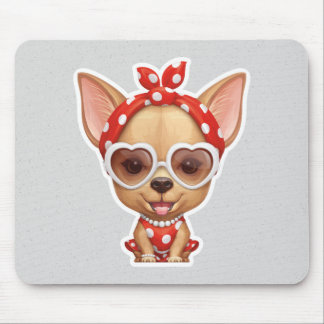 Chihuahua in the Guise of a Retro Beauty Mouse Pad