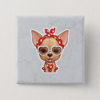 Chihuahua in the Guise of a Retro Beauty Pinback Button