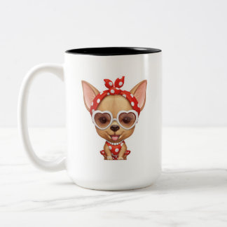 Chihuahua in the Guise of a Retro Beauty Two-Tone Coffee Mug