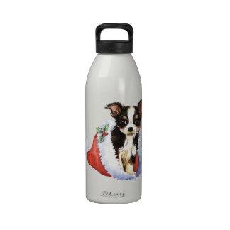 Chihuahua larga feliz de la capa de Howliday Botella De Beber