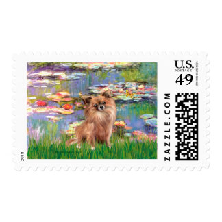Chihuahua (LgHair 1) - Lilies 2 Postage Stamp