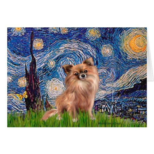 Chihuahua (LgHair 1) - noche estrellada Tarjeta De Felicitación