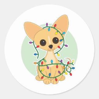 Chihuahua Lights Classic Round Sticker