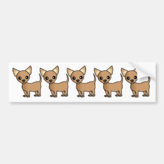Chihuahua linda del dibujo animado etiqueta de parachoque