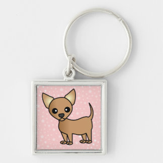 Chihuahua linda del dibujo animado llavero cuadrado plateado
