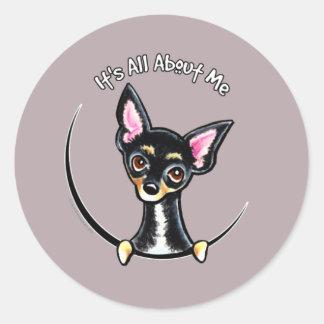 Chihuahua lisa IAAM del moreno negro Etiquetas Redondas