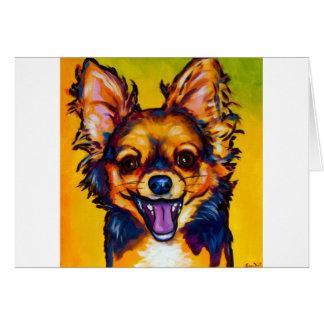 Chihuahua (long coat sable) greeting card