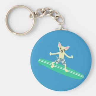 Chihuahua Longboard Surfer Basic Round Button Keychain