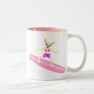 Chihuahua Longboard Surfer Girl Two-Tone Coffee Mug