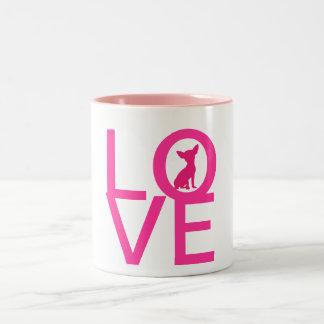 Chihuahua love dog pink cute silhouette mug, gift Two-Tone coffee mug
