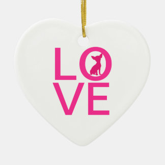Chihuahua love pink dog cute heart ornament, gift Double-Sided heart ceramic christmas ornament
