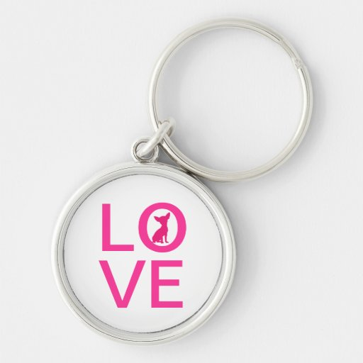 Chihuahua love pink dog cute keychain, gift idea Silver-Colored round keychain