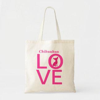 Chihuahua love pink dog cute tote bag, gift idea