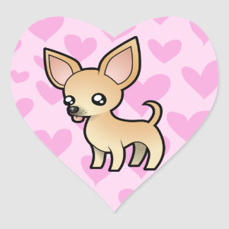 Chihuahua Love (smooth coat) Heart Sticker