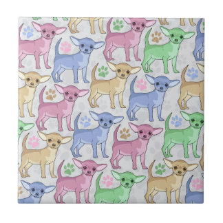 Chihuahua Lover Colorful Pattern Ceramic Tile
