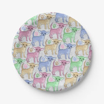 Chihuahua Lover Colorful Pattern Paper Plate
