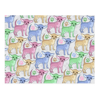 Chihuahua Lover Colorful Pattern Postcard